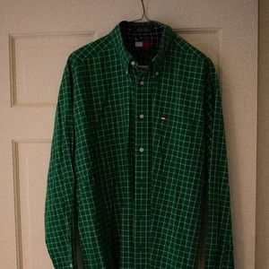 Mens Tommy Hilfiger Green Button Down
